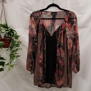 EUC Sheer Boho/Gypsy Top with Camisole